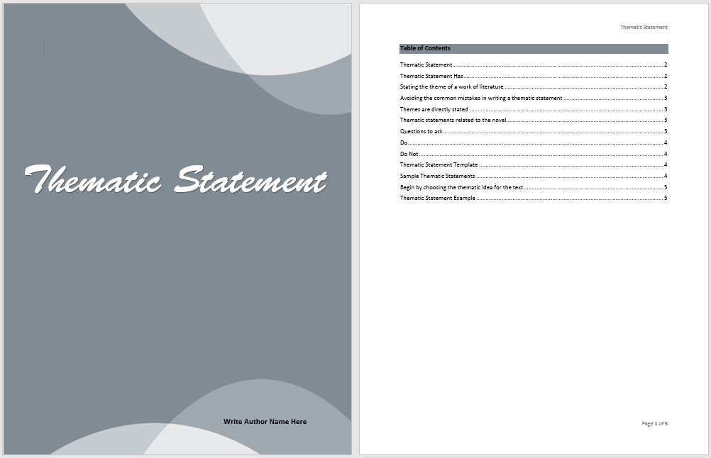 how do you write a thematic statement