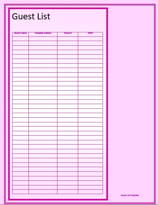 picture regarding Free Printable Baby Shower Guest List named 17+ Totally free Child Shower Visitor Checklist Templates - MS Workplace Information