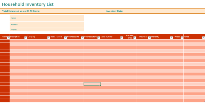 21 free household inventory list templates ms office documents