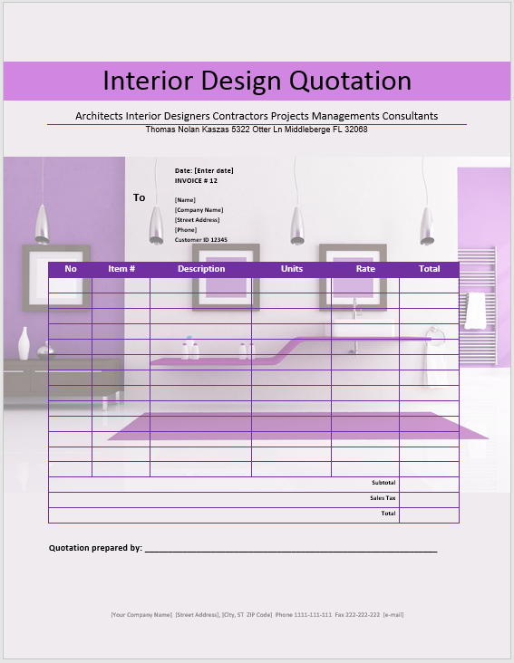 Free Interior Design Quotation Template 20 Templates MS Office