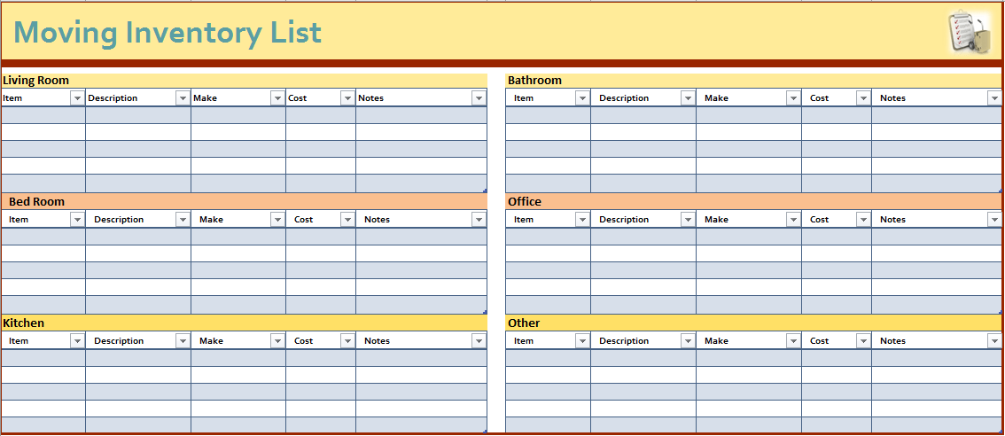 Moving Inventory List Template  Inventory List Template