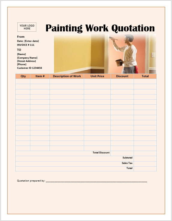 Painting work quotation template ms office documents painting work quotation template altavistaventures Choice Image