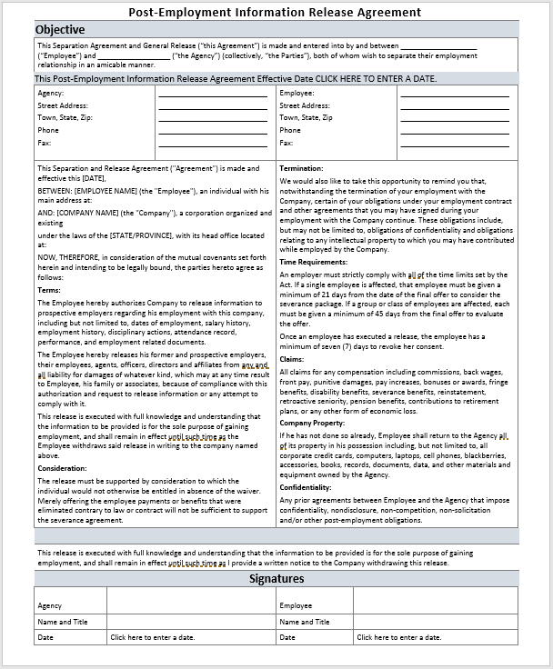 Post Employment Information Release Agreement Template Ms