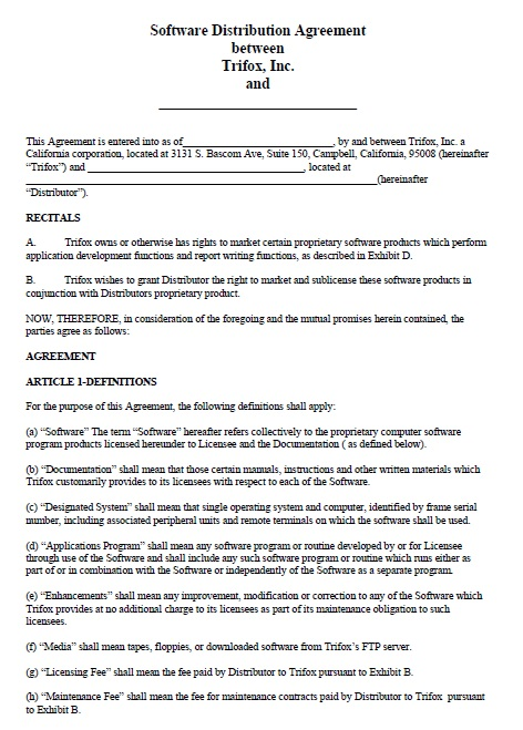 15 Free Distribution Agreement Templates For Software Andor Multimedia