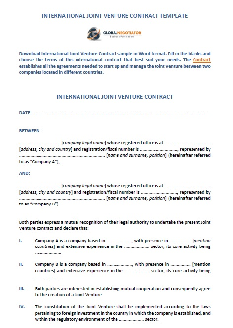 19 Free Joint Venture Agreement Templates Ms Office Documents