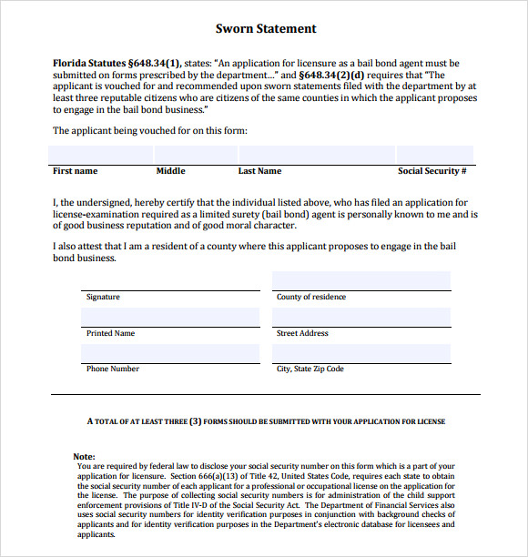 Sworn Statement Templates | 16 Free Sworn Statement Templates Ms Office Documents