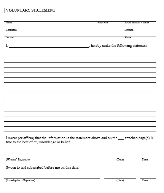 Free Sworn Statement Template  Templates  Ms Office Documents