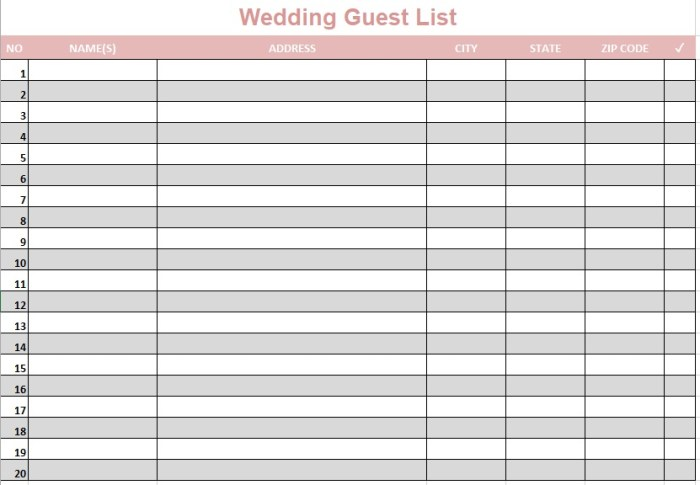 party guest list template pdf