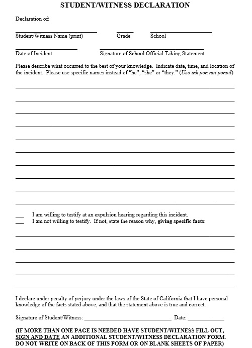Witness Statement Template  Templates  Ms Office Documents