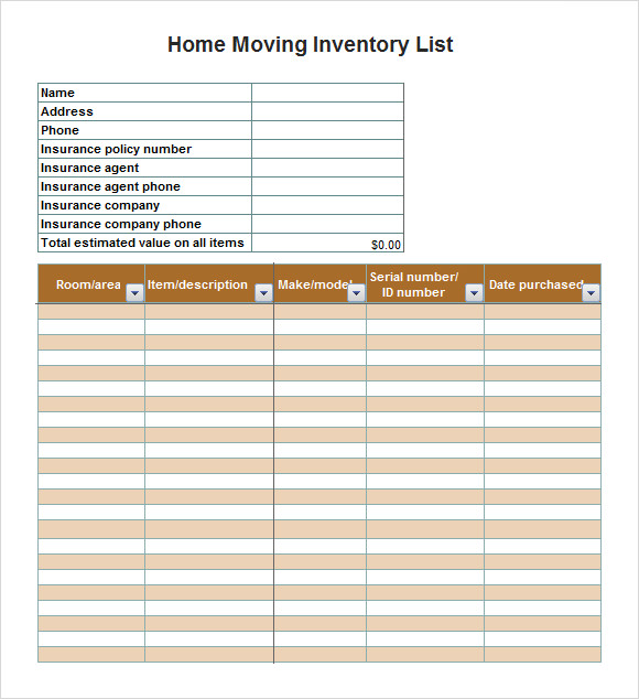 Inventory List Template 11 MS Office Documents