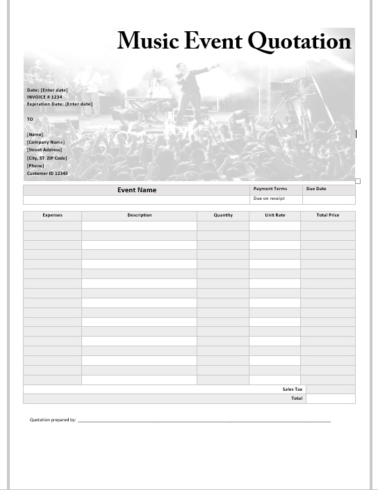 15 free music event quotation templates ms office documents