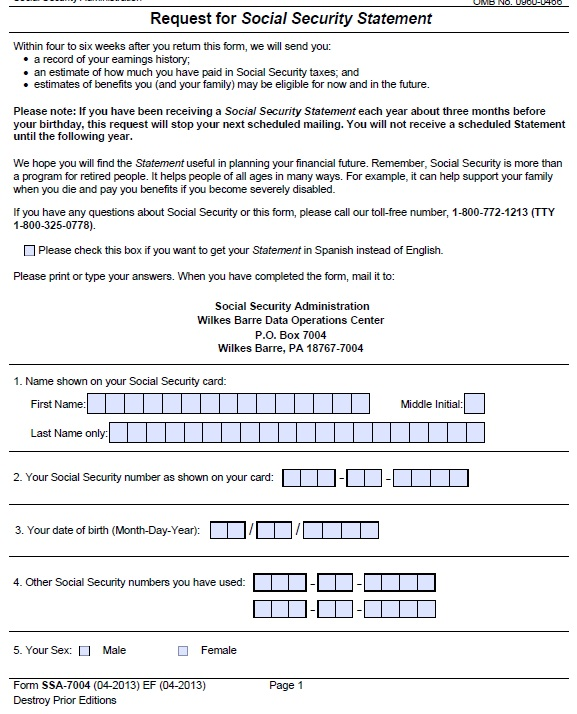 Social Security Administration Form: 15+ Free Social Security Statement Templates