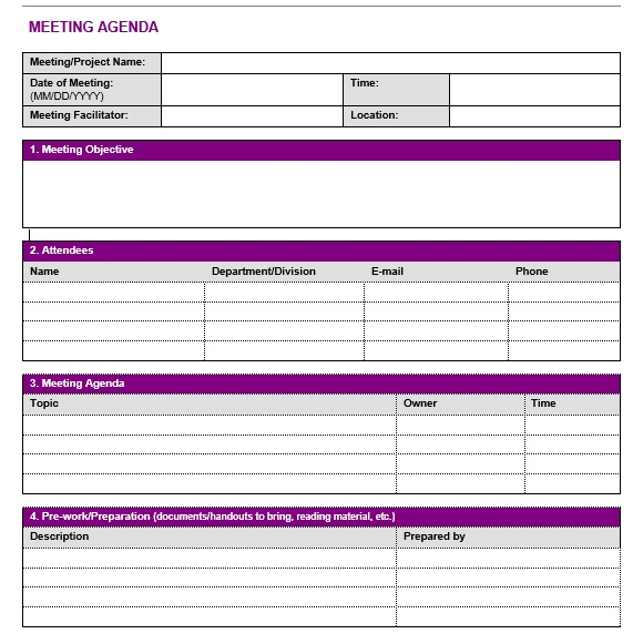 17  free team meeting agenda templates