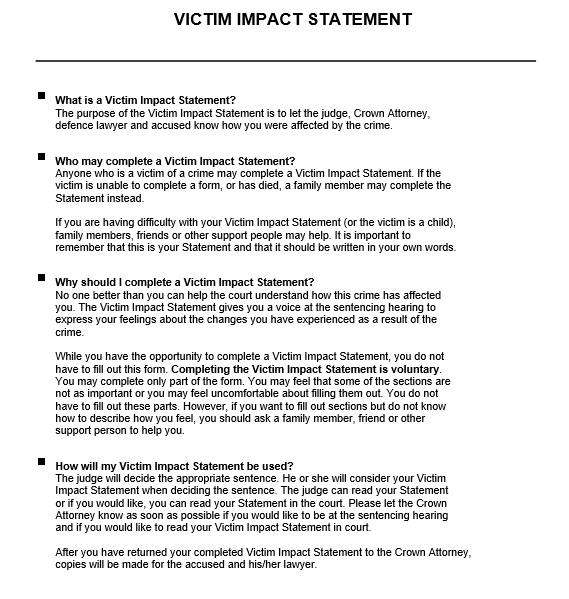 Victim Statement | Victim Impact Statement Template 3 Ms Office Documents