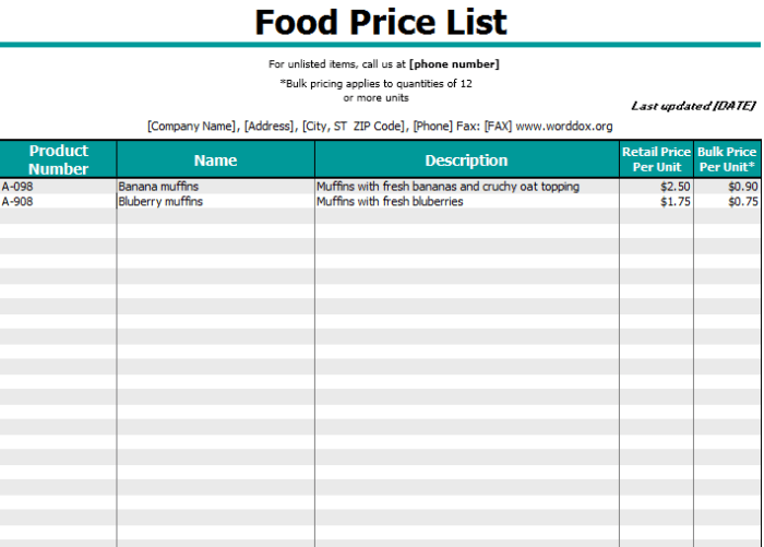 20 Free Service Price List Templates Ms Office Documents