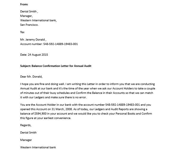 Sample Confirmation Letter