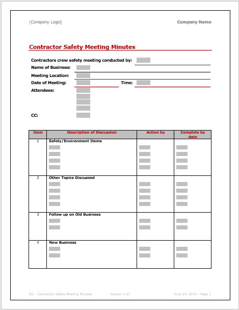 I would like to require what are the benefits of safety committee in chmecial industries and statutory require and minutes of meetings of such. Downloadable Corporate Meeting Minutes Template Word Crafts Diy And Ideas Blog
