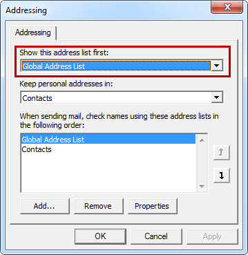 Change The Default Address List Of The Outlook Address Book