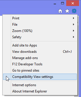 Internet Explorer 11 - Tools (gear icon) - Compatibility View Settings