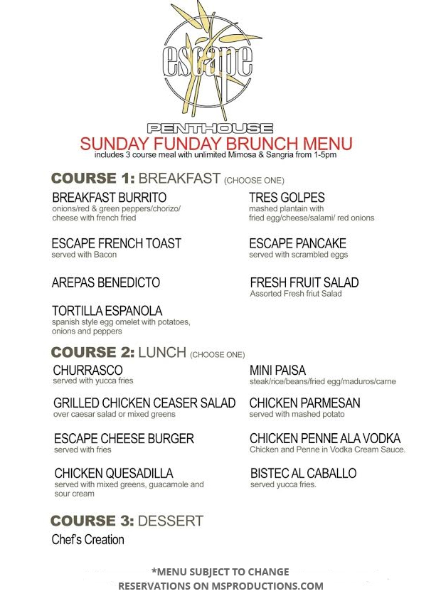 Escape Rooftop Brunch Menu