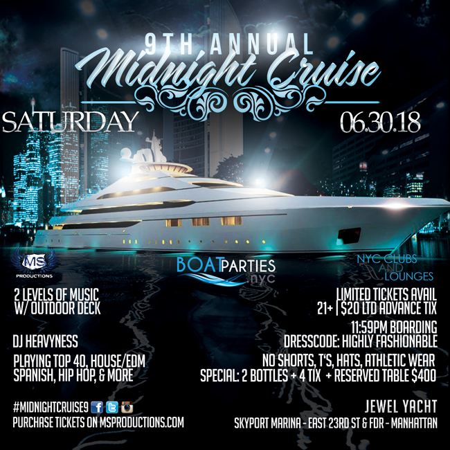 NYC Midnight Cruise Boat Party