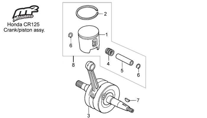 Honda CR125 parts, crank/piston assy.