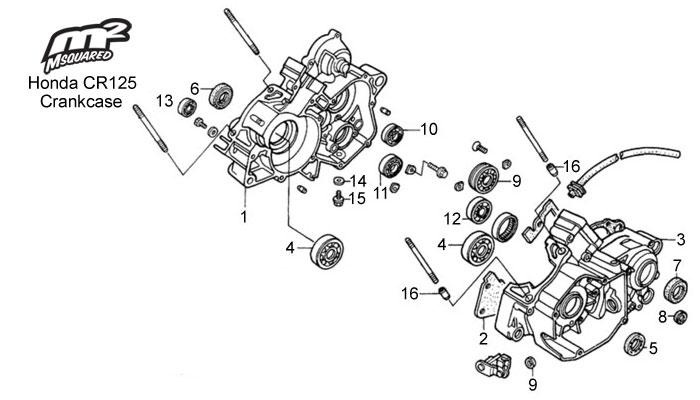 Honda CR125 parts, crankcase assy.