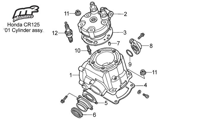 Honda CR125 parts, 2001 cylinder/head assy.