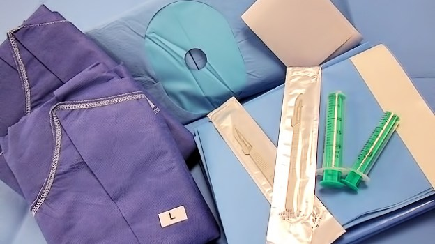 <strong>Example of basic ingredients</strong><br/> (Dimensions, qualities, sizes according to specifications)<br/>  Drape 150x 200 cm<br/> Hand / Foots drap 220x320cm<br/> Mayo table Sack<br/> Surgical gown Gr. M<br/> Surgical gown Gr. XXL<br/>