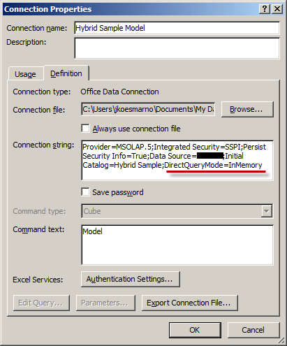 Excel Connection String Dialog Box