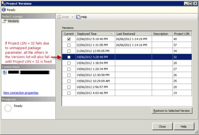 SSMS Integration Services Project Versions Dialog Box