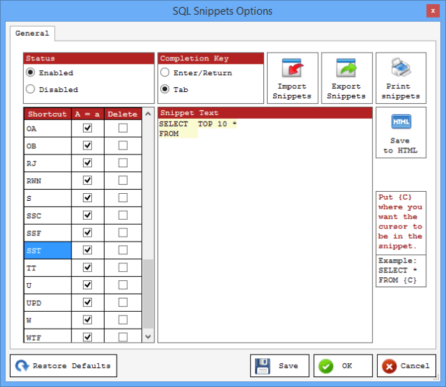 STP SQL Snippets
