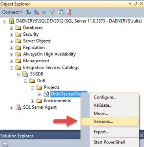 SSIS Project Versions in SSMS