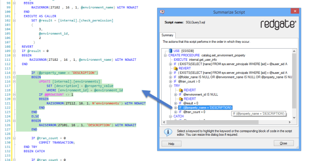SQL Prompt - Summarize Script