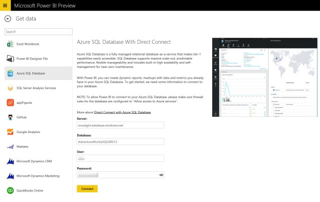 Power BI Connect to Azure SQL Database