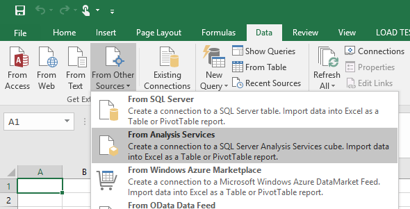 Excel > Data > From Other Connections > From Analysis Services