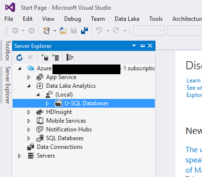 Server Explorer shows Local Data Lake Analytics