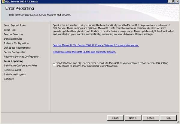 SQL Server 2008 R2 Error Reporting