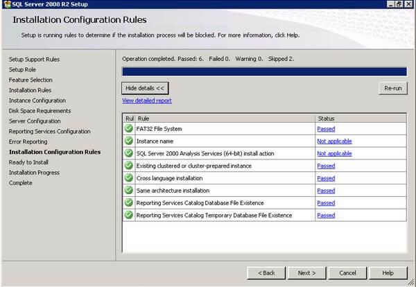 SQL Server 2008 R2 Installation Configuration Rules