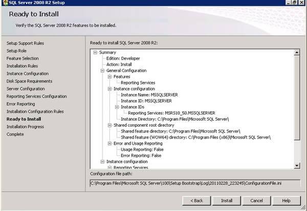 SQL Server 2008 R2 Installation Summary