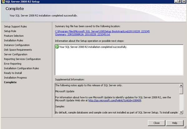 SQL Server 2008 R2 Successful Installation