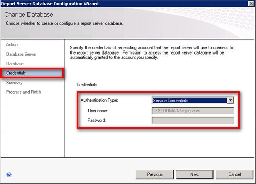 SQL Server 2008 R2 Reporting Services Credentials