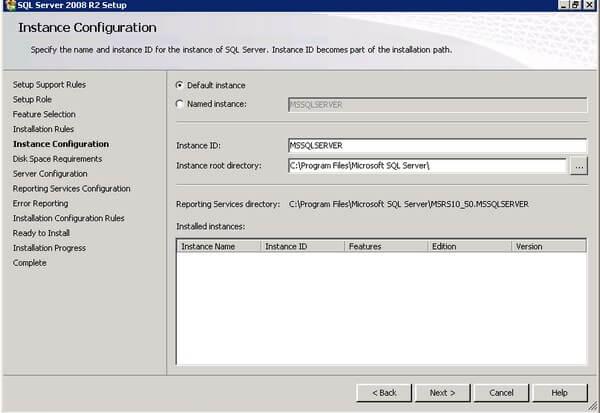 SQL Server 2008 R2 Setup Instance Configuration
