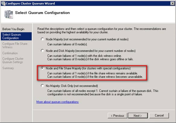 Select Quorum Configuration dialog box