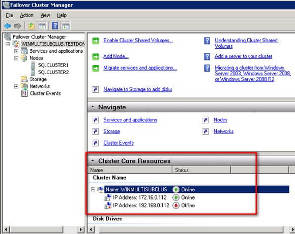 Cluster Core Resources section of the Windows Failover Cluster