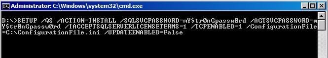 SQL Server 2012 Installation using a configuration file