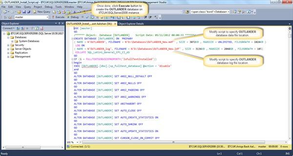 Restoring OUTLANDER database