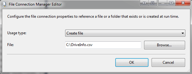 You will need to create a new File Connection for Destination