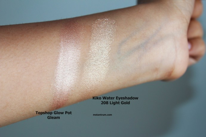Kiko 208 Light Gold vs Topshop Glow Pot Gleam