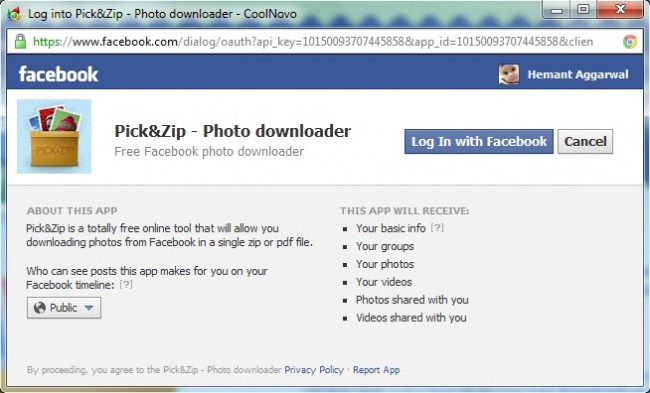 Download Facebook albums with PICK&ZIP